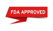 Red paper speech banner with word fda approved on white background (Vector)