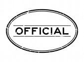 Grunge black official word oval rubber seal stamp on white background