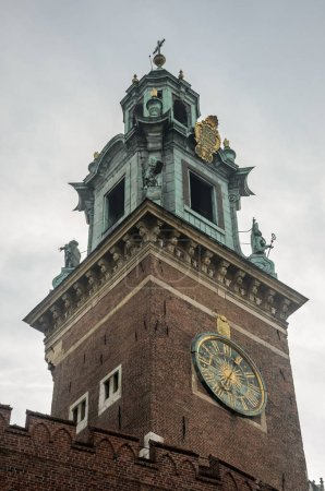 Clock on the tower of the Wawel Royal Castle in Krakow, Poland