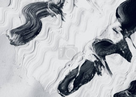 Photo for Abstract ink background. Marble style. Black and white paint stroke texture. Wallpaper for web and game design. Grunge drywall mud art. Macro image of spackling paste. Dark Smear of painterly plaster - Royalty Free Image