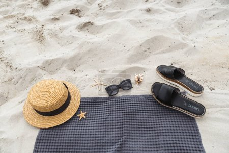 Photo for Summer concept. beach stuff on sand. copy space - Royalty Free Image