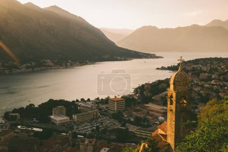 Photo for Aerial view of kotor town on sunset. summer time vacation - Royalty Free Image