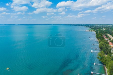 Photo for Aerial view of lake with swimming people. summer time. travel concept - Royalty Free Image