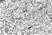Collection and set banner Coloring book or page for Halloween Cartoon ghosts bats and pumpkins at night - Vector Vector illustration
