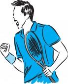 tennis player screaming winner concept vector illustration
