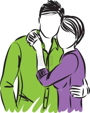 Illustration pour Couple mignon ensemble embrasser illustration vectorielle - image libre de droit