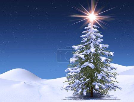 Zima Drzewo w magiczne Boże Narodzenie gwiaździste zimna noc