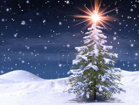 Zima Drzewo w magiczne Boże Narodzenie zimno, śnieg noc