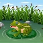 Vector illustration of Cartoon frog on a leaf in t...