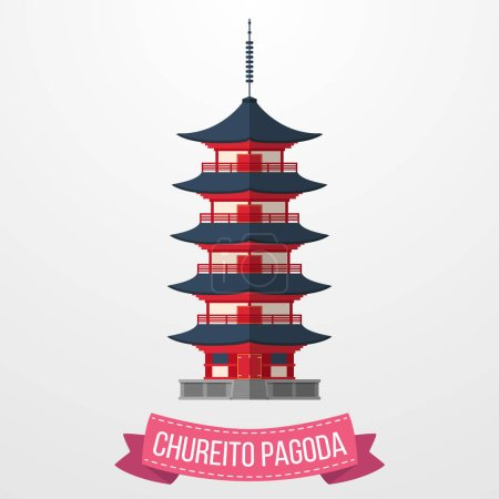 Vector illustration of Chureito Pagoda icon on white background