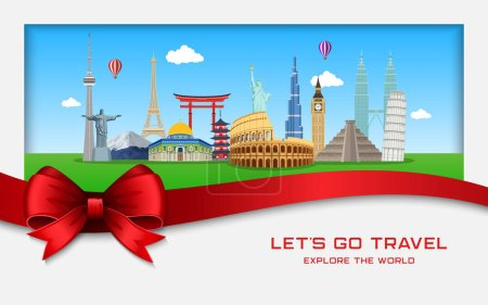 Vector illustration of Explore the world with famous architectural landmarks