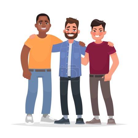 Illustration pour L'amitié internationale. Afro-américain, homme caucasien et asiatique ensemble étreignant. Illustration vectorielle dans le style dessin animé - image libre de droit