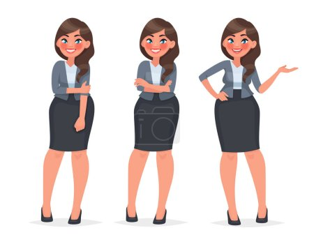 Photo for Set of character a female office employee. Beautiful woman in business clothes. Secretary in different poses. Vector illustration in cartoon style - Royalty Free Image