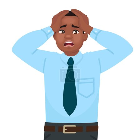 Illustration for Stress and anxiety at work. An African American male office worker is alarmed. Headache. Problems in business. Vector illustration in cartoon style - Royalty Free Image
