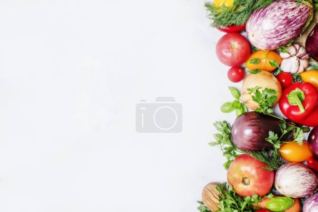 Photo for Food background, vegetarian concept, fresh vegetables and herbs, top view - Royalty Free Image