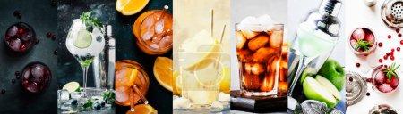Photo pour Cocktails alcoolisés avec boissons fortes, soda, baies et fruits dans l'assortiment. Gros plan. Collage photo - image libre de droit