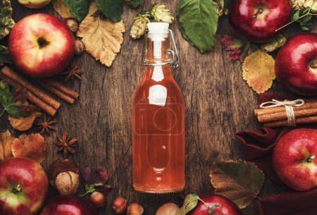 Photo for Apple cider vinegar. Bottle of fresh apple organic vinegar on wooden table background with cinnamon sticks, anise star, nuts and fallen leaves. Healthy organic food. Copy space - Royalty Free Image