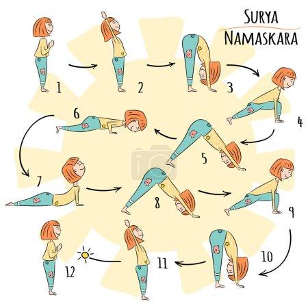 Cute yoga kid. Yoga infographics, Surya Namaskar, Salutation to the Sun. Vector illustration