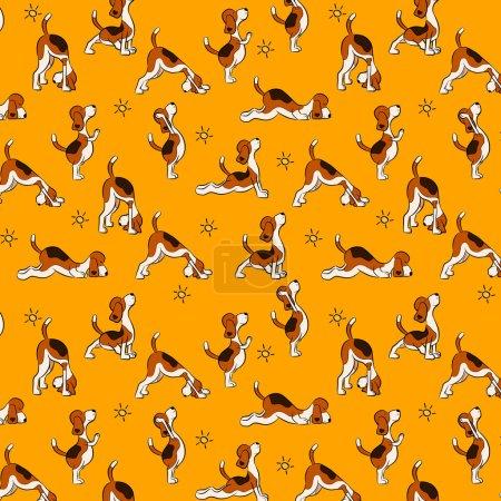 Funny seamless pattern with isolated cartoon dog doing yoga position of Surya Namaskara. San Salutation. Beagle vector illustration