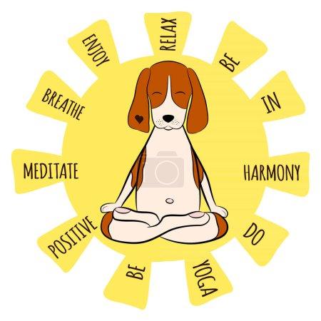 Image of a cartoon funny dog beagle sitting on lotus position of yoga. Beagle logo. Vector illustration