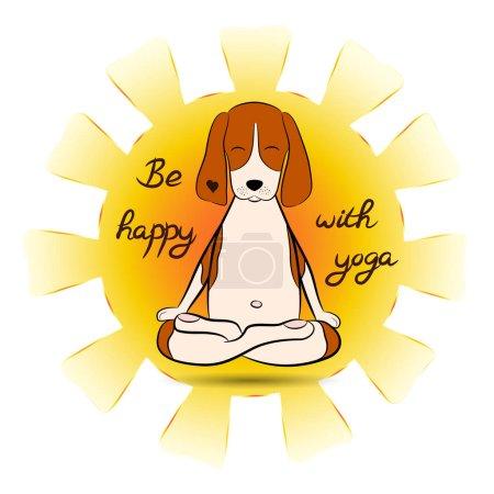 Image of a cartoon funny dog beagle sitting on lotus position of yoga with sun. Beagle logo. Vector illustration