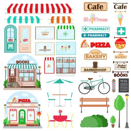 Set of Shop facade and exterior elements with doors, showcases, signboards emblems, bench, plants furniture products. Vector illustration
