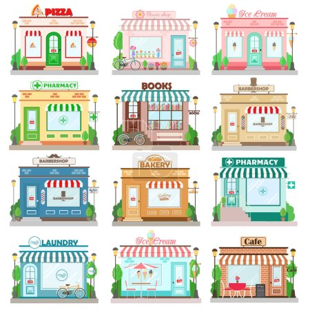 Set of detailed flat design city facade buildings. Restaurants and shops facade icons. Pizza, flowers, books shop, laundry, bakery, pharmacy, barbershop, ice cream, cafe. Vector illustration
