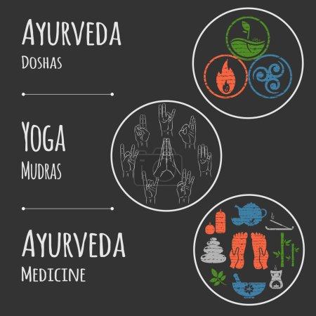 Ayurveda vector illustration. Set of mudras, doshas - vata, pitta, kapha and ayurvedic icons. Ayurvedic body types. Ayurvedic infographic. Healthy lifestyle. Alternative medicine