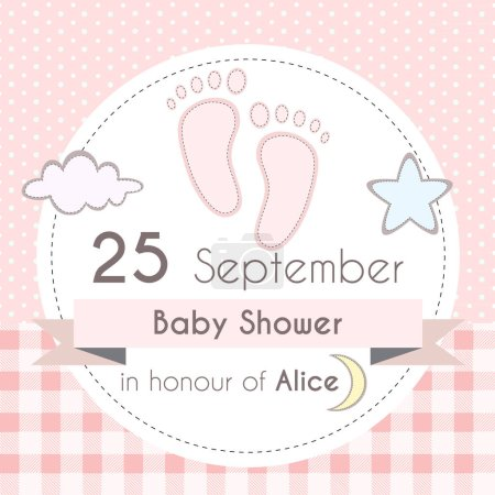 Baby shower girl invitation card, template for scrapbooking with little foot steps, stars, moon and clouds. Vector illustration.