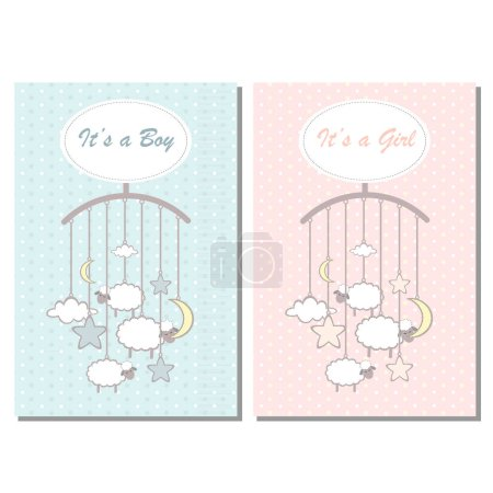 Baby shower boy and girl invitation card, template for scrapbooking with little lambs, stars, moon and clouds. Vector illustration.