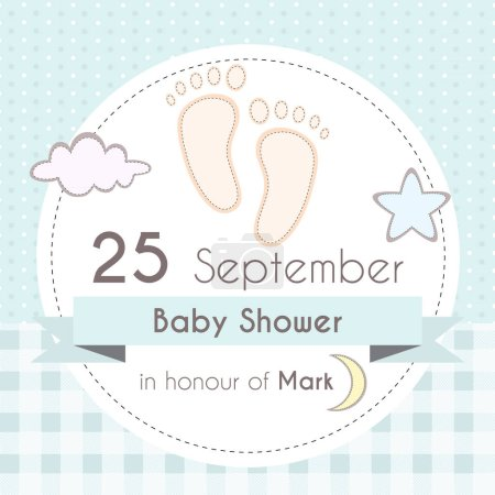 Baby shower boy invitation card, template for scrapbooking with little foot steps, stars, moon and clouds. Vector illustration.