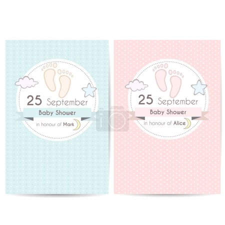 Baby shower invitation cards, template for scrapbooking with feet, stars, moon and clouds. Vector illustration
