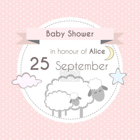 Baby shower girl invitation card, template for scrapbooking with little lambs, stars, moon and clouds. Vector illustration.