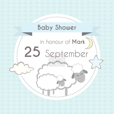 Baby shower boy invitation card, template for scrapbooking with little lambs, stars, moon and clouds. Vector illustration.
