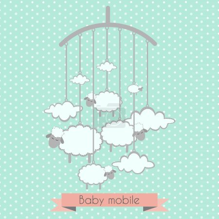 Baby mobile with little lambs and clouds. Baby shower invitation, template for scrapbooking, cards.