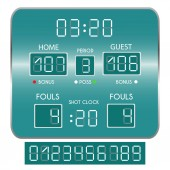 Basketball scoreboard Score and numbers Vector illustration