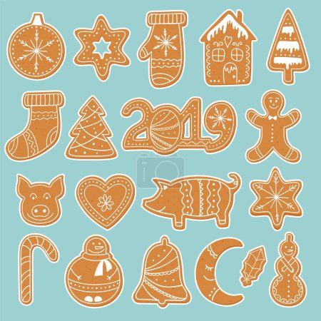 Set of gingerbread cookies stickers: house, gingerbread man, stars, snowflakes, Christmas ornaments, sock, mitten, sugar cane and Christmas tree. Collection of homemade holiday cookies. New Year bakery. Vector illustration