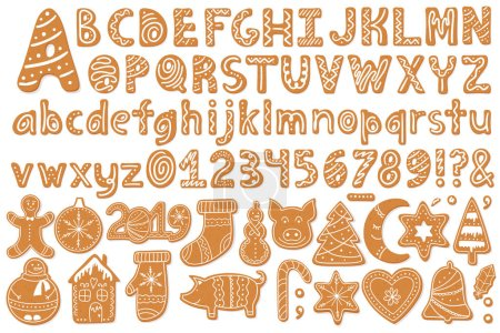 Set of alphabet holidays gingerbread cookies isolated on white background. Merry Christmas and Happy New Year figures decorated glaze sugar. Vector illustration
