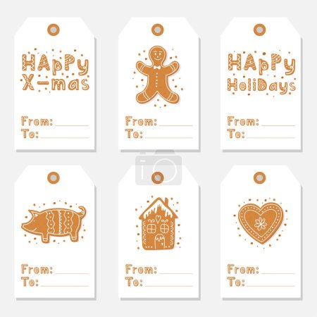 Christmas vintage gift tags set with gingerbread cookies figures of house, pig and heart, gingerbread man decorated glaze isolated. Lettering Merry Christmas. Vector illustration