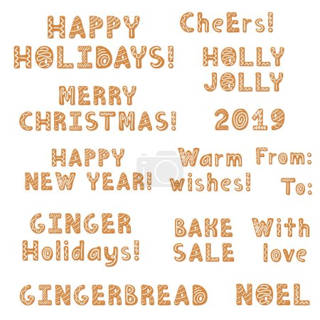 Set of Christmas gingerbread cookies lettering, quotes, phrases decorated glaze isolated. Lettering Merry Christmas. Vector illustration