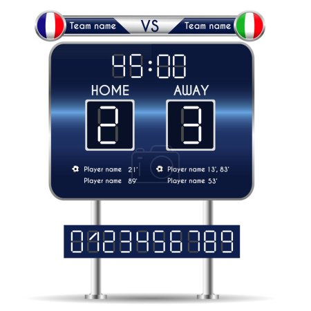 Broadcast graphic for football final score. Football Soccer Match Statistics. Scoreboard and numbers. France versus Italy Team. Digital background vector illustration. Infographic