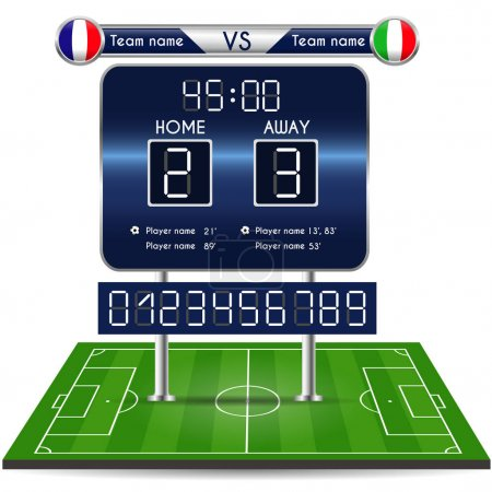 Broadcast graphic for football final score. Football Soccer Match Statistics with playfield. Scoreboard and numbers. France versus Italy Team. Digital background vector illustration. Infographic
