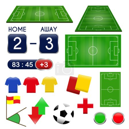 Soccer icons. Football elements and play field, scoreboard.  Football Match Infographic. Vector illustration.