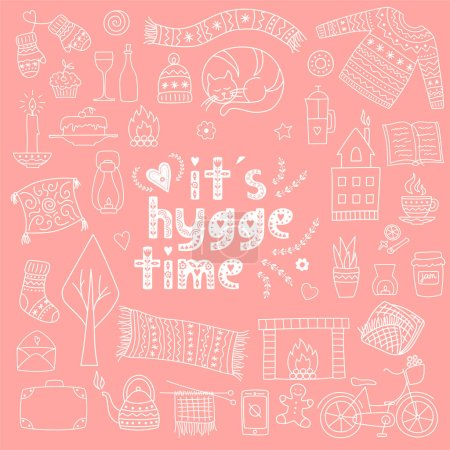 Time to Hygge. Hand drawn doodle icons set. Vector illustration for greeting card with lettering and cozy home things like candles, socks, oversize rug, tea, fireplace. Danish living concept.