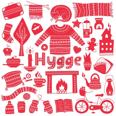 vector; illustration; hygge; home; scandinavian; design; cozy; danish; candle; comfort; warm; decoration; winter; background; relax; sketch; happy; house; tea; seasonal; card; drawing; denmark; coffee; book; peaceful; fire; sock; living concept; rest