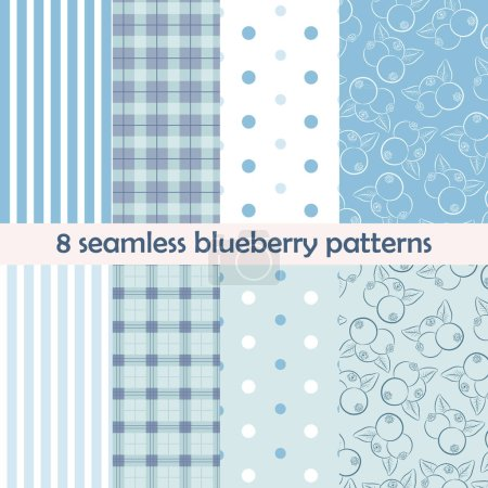 Set of 8 seamless patterns. Blueberry collection with berries on blue and light background. Perfect for wallpaper, wrapping paper, textile, package design. Vector illustration.
