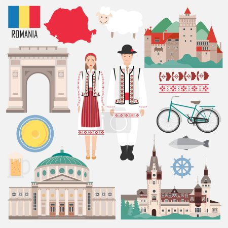 Set with Romanian traditional objects symbols of country: architecture, food, clothes. Travel elements in flat style. Vector illustration