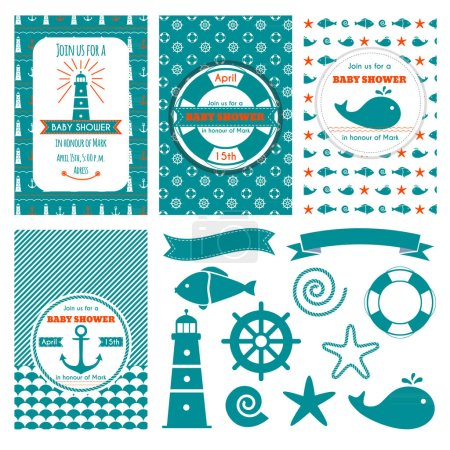 Nautical baby shower cards. Sea theme baby party invitations. Collection of cute banners and navy marine elements. Vector illustration