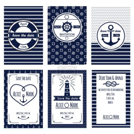 Set of nautical and marine wedding invitation and flyers. Templates in white and blue colors. Vector illustration