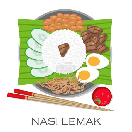 Malaysian Cuisine, Nasi Lemak or Steamed Rice Cooked in Coconut Milk Served with Boil Egg, Anchovies, Peanut and Cucumber. The National Dish of Malaysia. Vector illustration